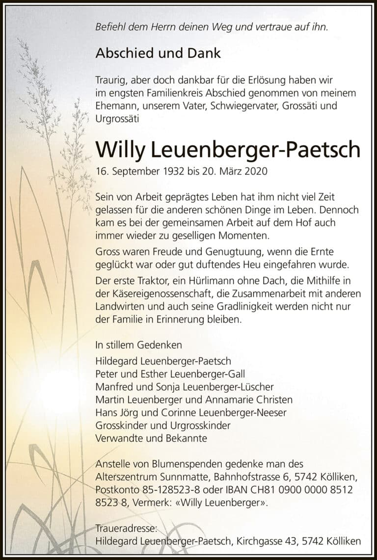 Willy Leuenberger-Paetsch, 1932 | Der Landanzeiger